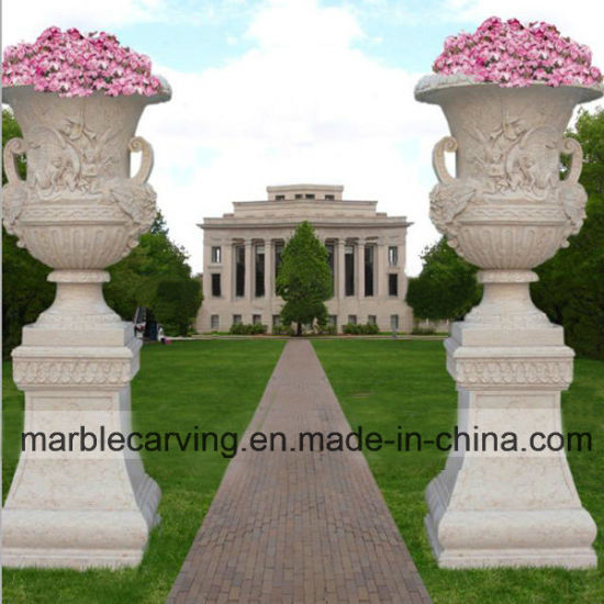 China Hand Carved Garden Stone Urns