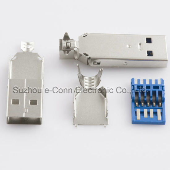USB 3.0 Male Solder Four-Piece Suit Connector pictures & photos