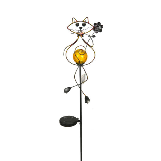 Outdoor Metal Cat Solar Light Garden Stick