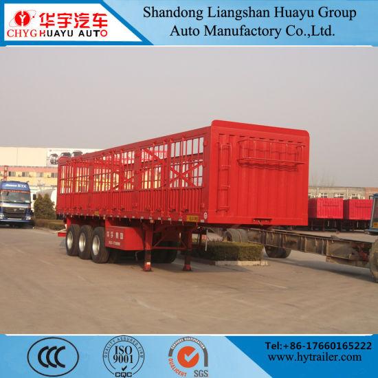 Hina Factory 3 Axle 60 Ton Truck Cargo Stake Box Van Semi Fence Trailer