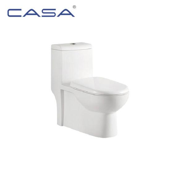 White Ceramic Bathroom Commode Siphonic Toilet Elongated Bowl