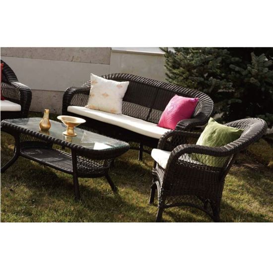 Outdoor Garden Black Sofa Set New Design Rattan Furniture