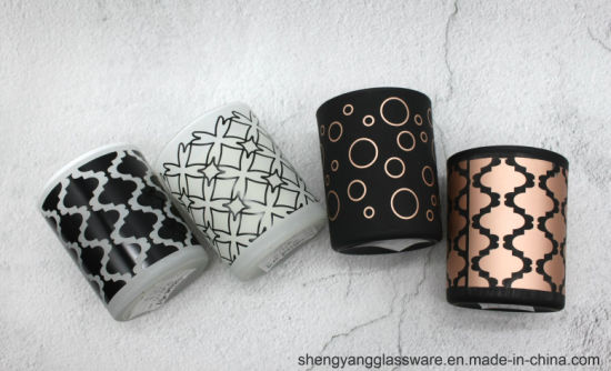 Hot Sell Glass Candle Jars Painted and Printed Candle Holder