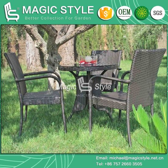 China Hot Sale Rattan Dining Chair Wicker Round Table Stackable