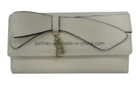 Bowknot Chain Decor Fashion Women PU Leather Trifold Wallet