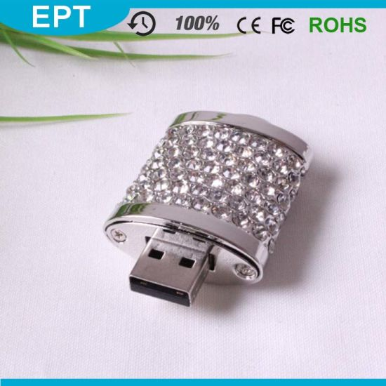 Wedding Gifts Locks Shape Crystal USB Flash Drive pictures & photos