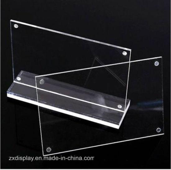 China T Shape Acrylic Clear Photo Frames Holders Display China