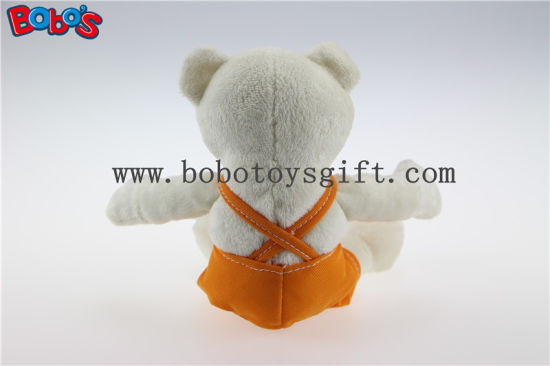 "6""White Soft Plush Baby Bear with Orange Overalls pictures & photos"
