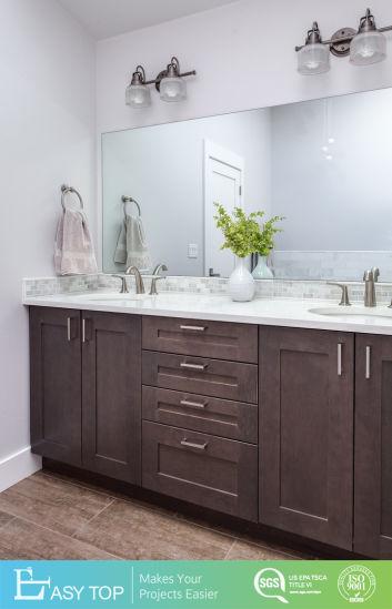 Custom Design Elegant High End Floor Mounted Solid Wood L Shaped Luxury Bathroom Vanity
