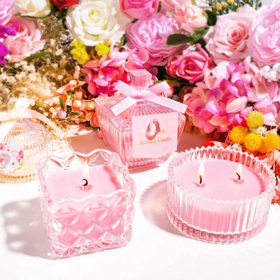 Wholesale Custom Home Decoration Popular Romantic Wedding Scented Crystal Candle Holder Glass Candle Jar
