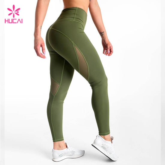 High Waist Thick Tights Green Mesh Ladies Yoga Pants