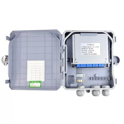 1X8 PLC Splitter Box Suitable for Wall-Mount and Pole Mounted Fiber Optical Distribution Box