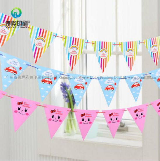 Printing Triangle Birthday Party Supplies Gift Decoration Banner pictures & photos