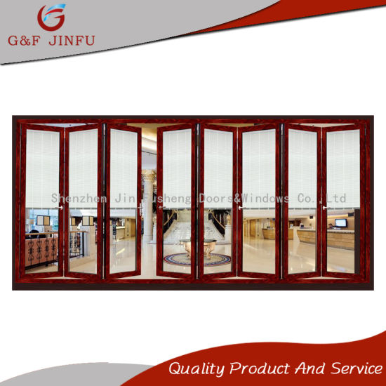 China Wooden Like Metal Double Glass Folding Door with Shutters ...