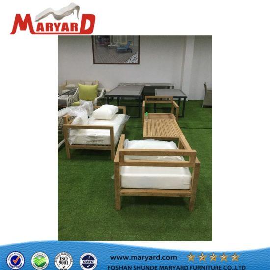 China Modern Home Hotel Restaurant Teak Wood Patio Sofa Set With Comfortable Cushion China Wood Sofa Wooden Sofa