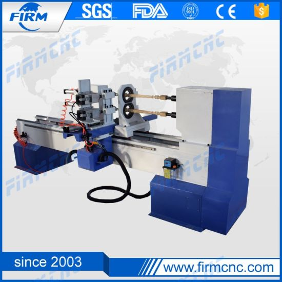 Two Spindle Four Tools Wood CNC Lathe for Batch Processing Leg of The Stool