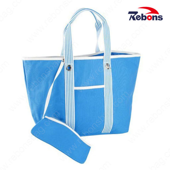 Custom Canvas Tote Shopping Beach Bags with Hanging Pocket