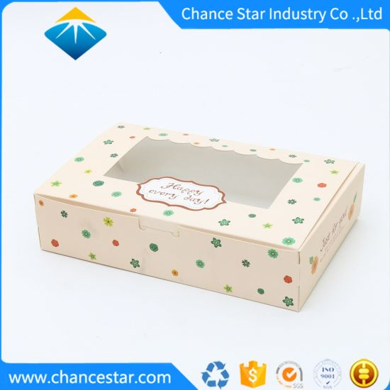 Custom Printed Paper Cake Gift Packing Box with Window