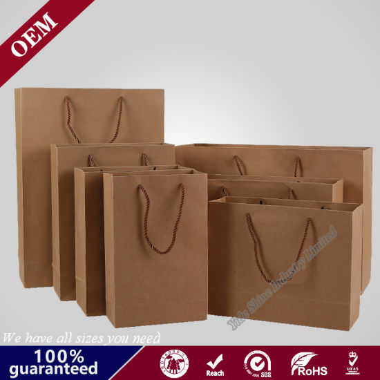 OEM Factory Wholesale Cheap Luxury Gift Shopping Kraft Paper Bag with Custom Logo