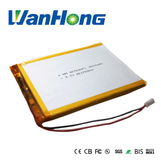 Un38.3 Kc UL 407090pl 3000mAh Rechargeable Lithium Li-Polymer Battery for Power Bank POS