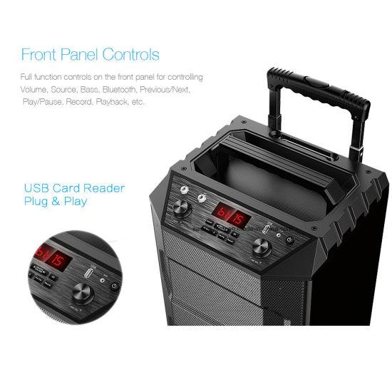 T5 2018 New Arrival Trolley Portable Wireless DJ PA Speaker Bluetooth  Outdoor/Home Audio Speaker with Wireless APP Control (Black, 2 1 Channel)