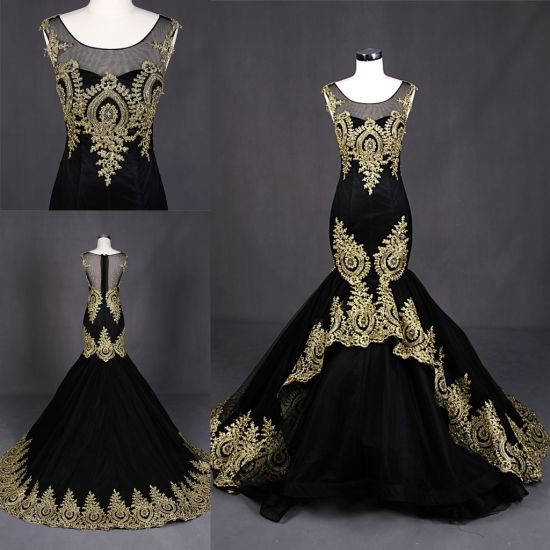 China Custom Make Gold Lace Appliqued Mermaid Gown Wholesale Evening ...