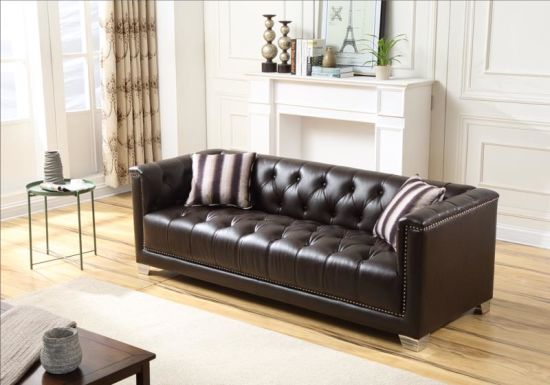 Oversize Home Furniture Leather Chesterfield Sofa Set