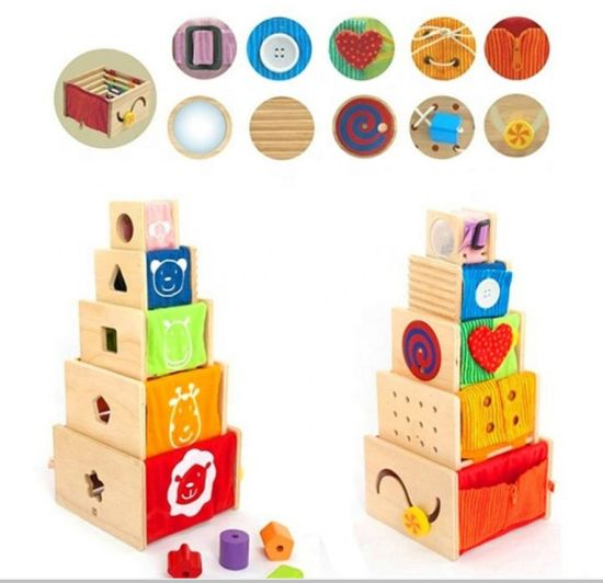 Wholesale Baby Wooden Activity Stacker Crazy Toy