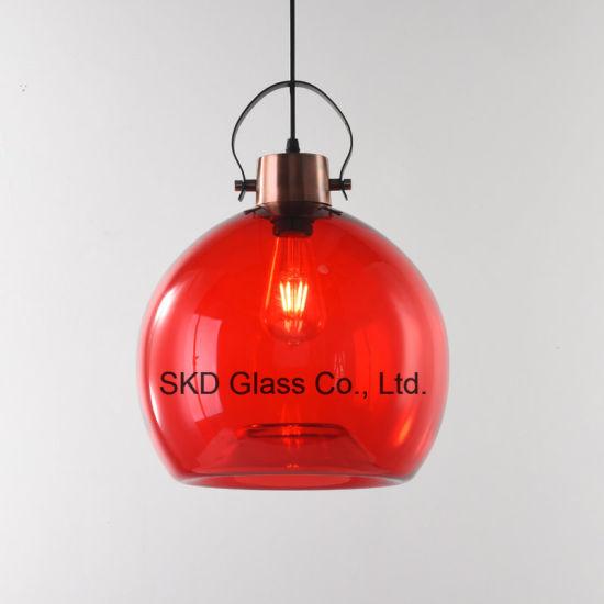 Concave Bottom Hand Blown Glass Ball Pendant Lighting