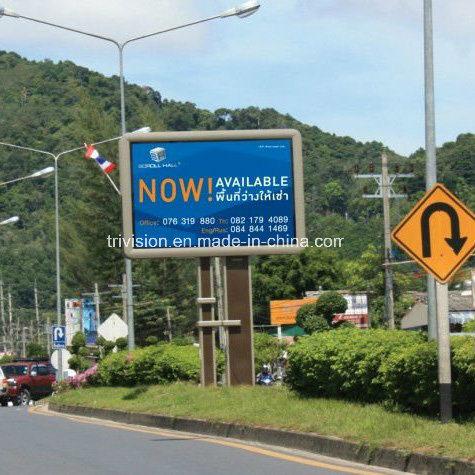 Steel Unipole Scrolling Advertising Backlit Light Box Billboard Structure