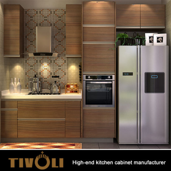 China Wood Grain Melamine Kitchen Cabinets Cheap Price Factory ...