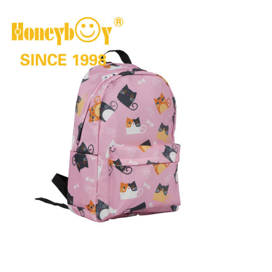 Lovely Pink Color Cartoon Cat Backpack for Girls