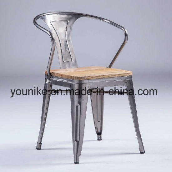Industrial Armchair With Wood Tolix Metal Dining Chair Outdoor Furniture