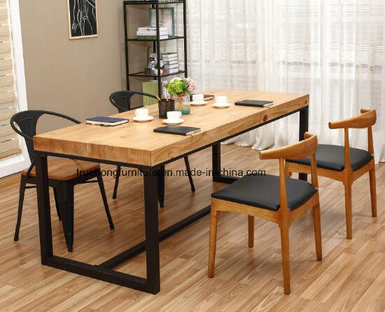 Solid Timber Table Metal Legs Natural