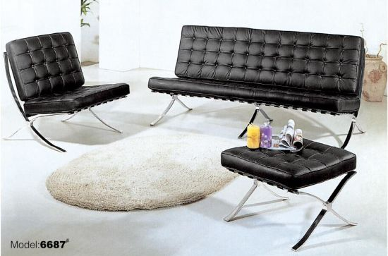 Modern Barcel Mies Van Living Room Por Quality Sofa Cowhide Full Leather Barcelona Chair