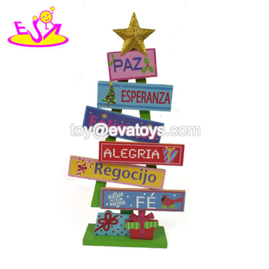 2018 wholesale customize tree shape wooden christmas decorations sale w09d041