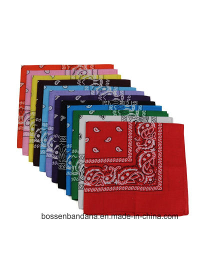 OEM Produce Cheap Customized Promotional Double Printed 100% Cotton Paisley Cowboy Bandanas pictures & photos