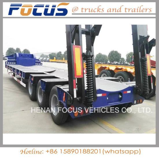 50tons Hydraulic Lowbed Platform Truck Semi Trailer for Excavator Transportation