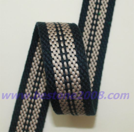 High Quality Imitated Cotton Jacquard Woven Elastic Webbing #1412-26 pictures & photos