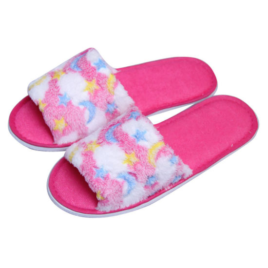 d6622aad9 China Pink Velvet Opened Toe Custom Slippers for SPA&Family - China ...