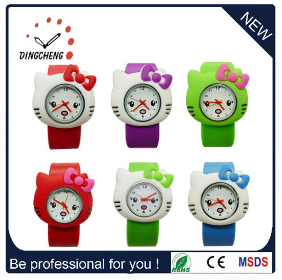 Promotional Silicone Rubber Lady Kids Slap Japan Movt Stainless Steel Back Watch (DC-531) pictures & photos
