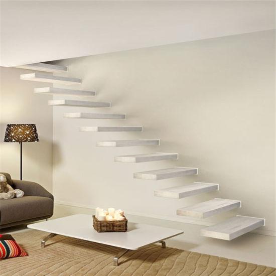 Building Code Hidden Beam Wood Tread Modern Stairs Floating Staircase