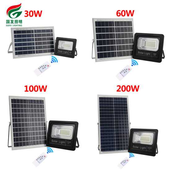 High Efficiency Super Bright IP67 Waterproof 30W 60W 100W 200W Outdoor Remotely Remote Control Solar LED Flood Light