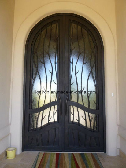 China Fast Sell Full Round Wrought Iron Interior Entry Side Door