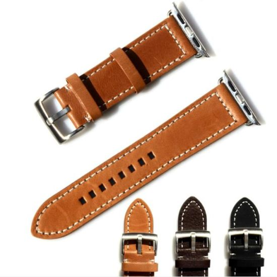 38mm 42mm OEM Supplier Genuine Leather Watch Strap for Iwatch Band Apple Watch Band pictures & photos