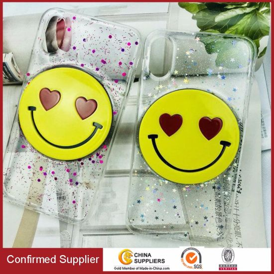 Fashion Glitter Powder Rubber Drop TPU Smiling Face Mobile Phone Case pictures & photos