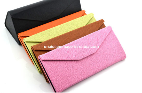 Triangle Foldable PU Leather Sunglasses Carrier Holder Box Eyeglasses Case pictures & photos