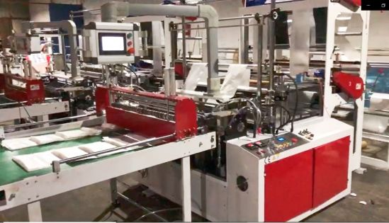 Double Layer Four Line Bottom Cold Sealing Cutting Bag Making Machine