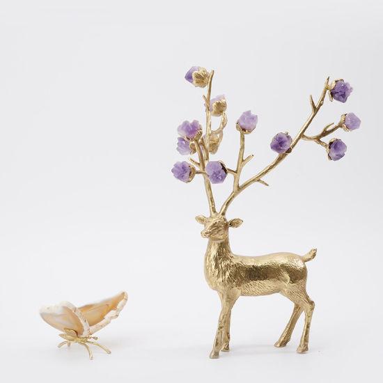 Enamel Color Sika Deer Living Room Cabinet Home Decor Modern Light Luxury Brass Deer