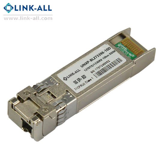 Single LC Tx-1490nm/Rx-1550nm 10gbps Fiber Optic SFP Optic Transceiver with  Ddm